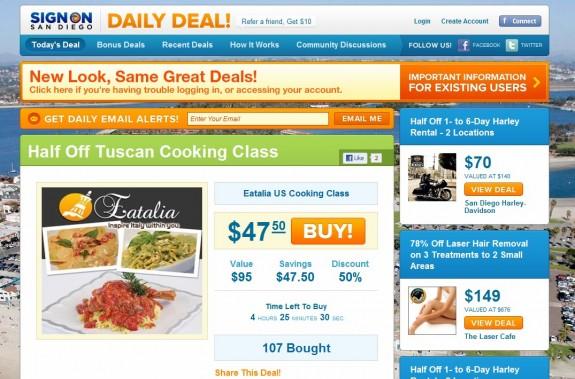 San Diego Union-Tribune's daily deal website