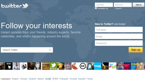 Official Twitter homepage