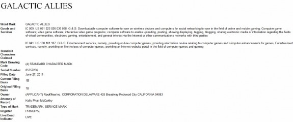 GALACTIC ALLIES trademark application