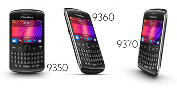 Blackberry Curve 9350, 9360, and 9370