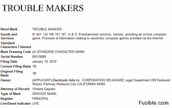 Electronic Arts - Trouble Makers trademark