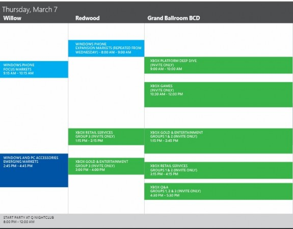 Internal Event Agenda (Microsoft Xbox) March 2013