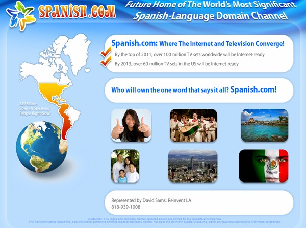 Big Plans on Tap for another one of Kevin Ham's Domains: Spanish.com