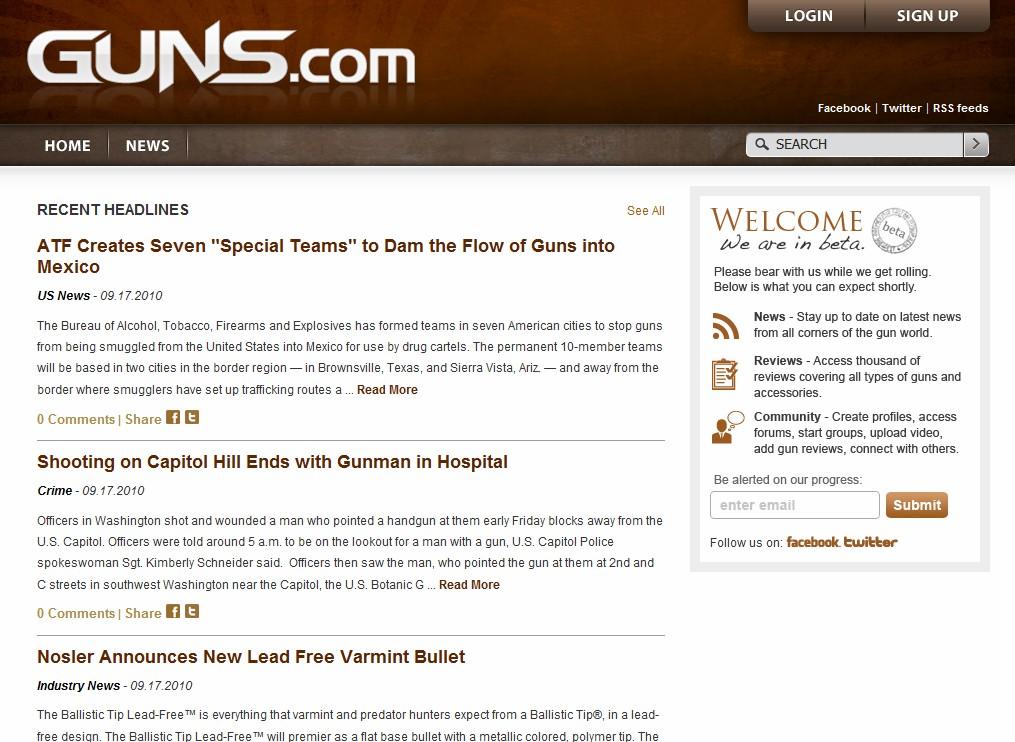 "Guns.com ""$800,000 Domain Name"" launches Beta web site"