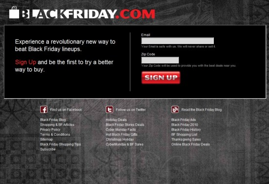 Black Friday home page