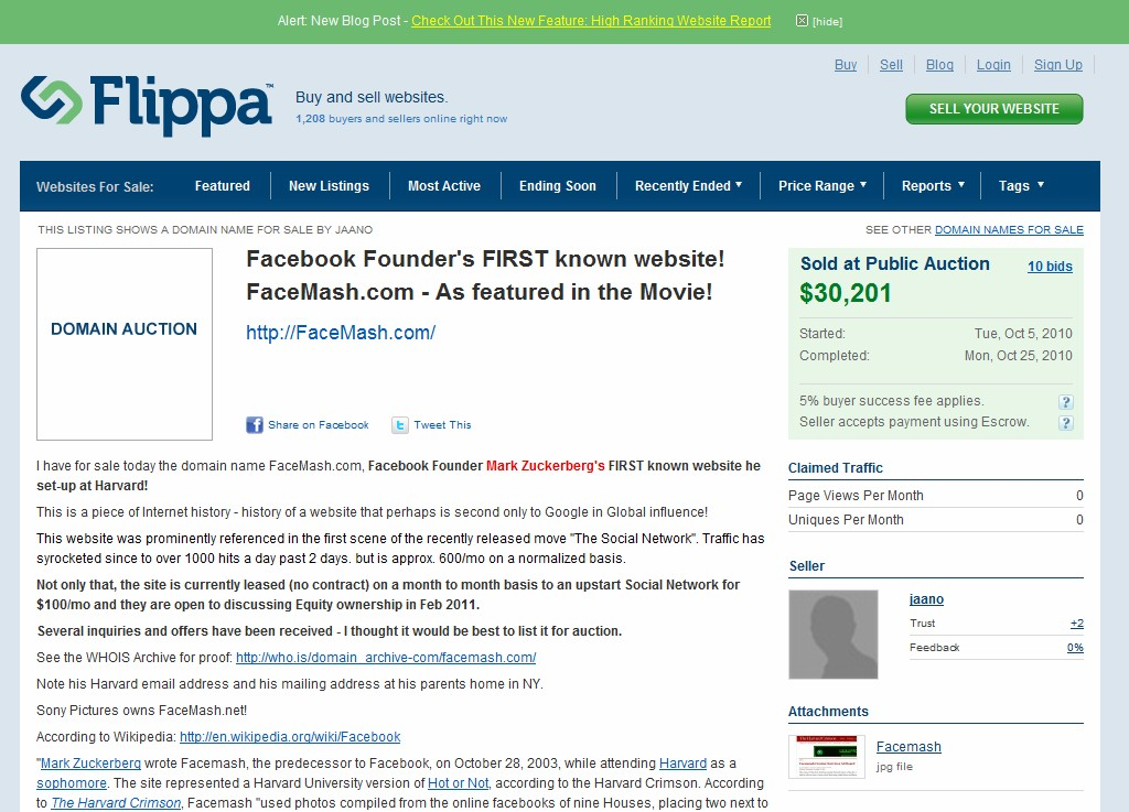 Facemash.com sells for $30,201 at public auction on Flippa