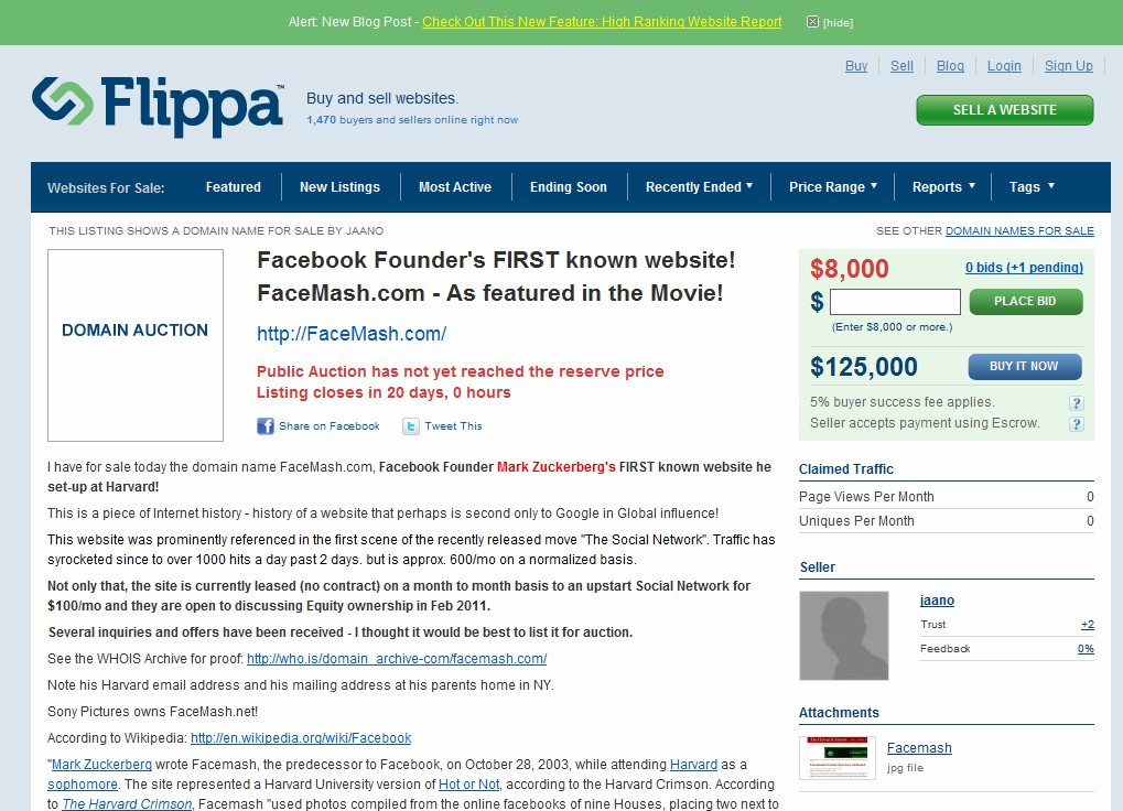 Domain name of Facebook Founder's first web site, FaceMash.com, up for sale