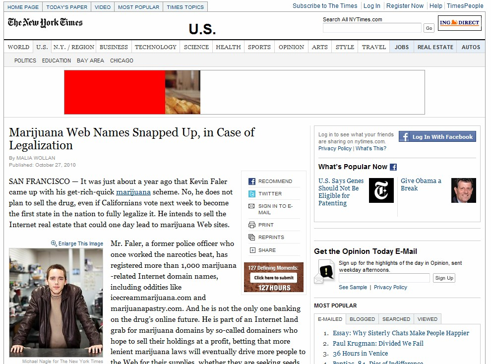 New York Times story on marijuana-related domain names fuels dozens of articles