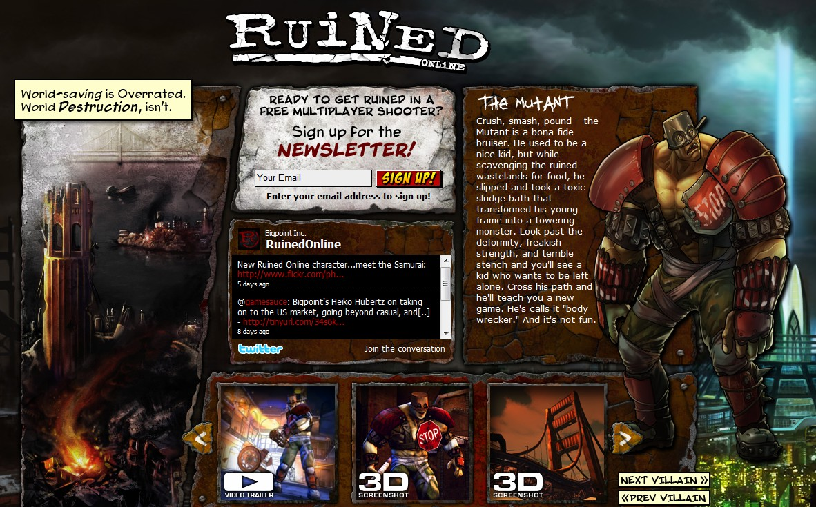German gaming portal Bigpoint acquires Ruined.com for $7,800 for its post apocalyptic third person shooter
