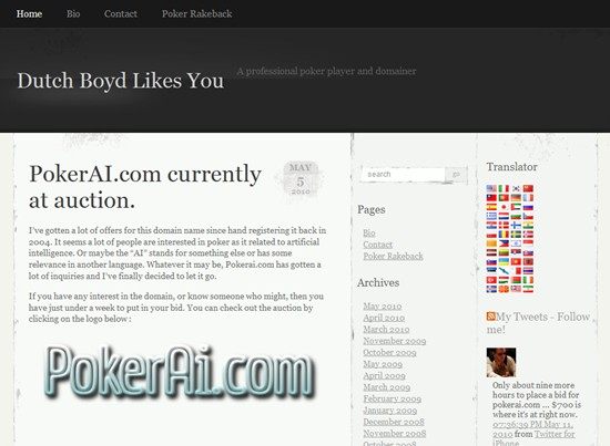 Professional Poker Player Dutch Boyd Gets Back to Poker, Blogging and …Domain Names
