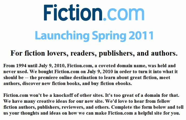 Hillcrest Media has plenty to be happy about with their purchase of Fiction.com domain for $90K
