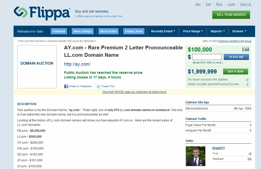 Two-letter .com domain AY.com receives $100,000 bid on Flippa in no-reserve auction