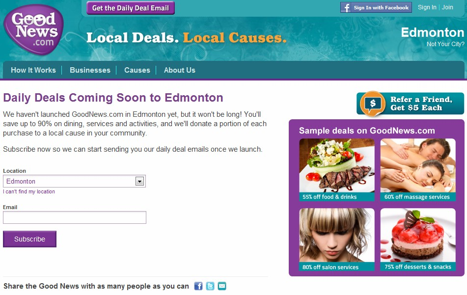 Reinvent's Group buying site GoodNews.com heads to Edmonton