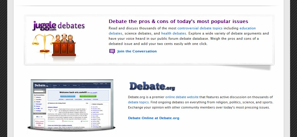 Online dating debate topics
