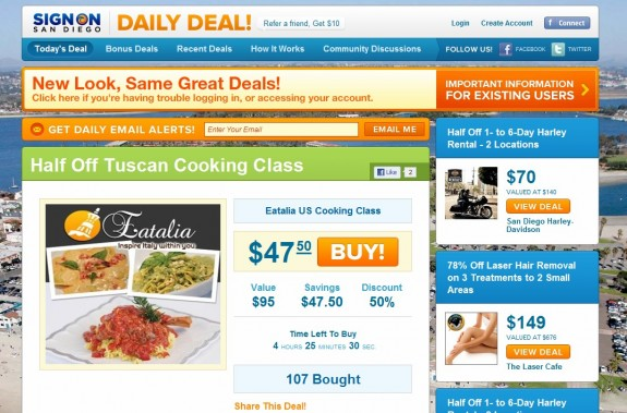 San Diego Union-Tribune's daily deal website