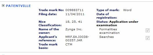 patentville trademark application