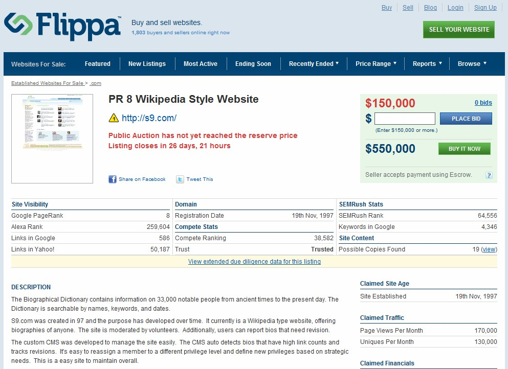Flippa's biggest officially reported sale ever at $400,000, back up for sale at auction site