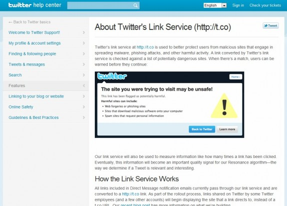 Twitter link service t.co