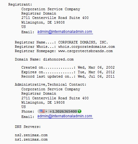 Dishonored.com Whois record