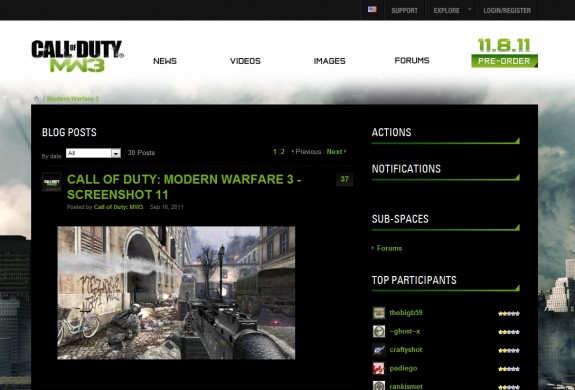 Call of Duty Modern Warfare 3 website