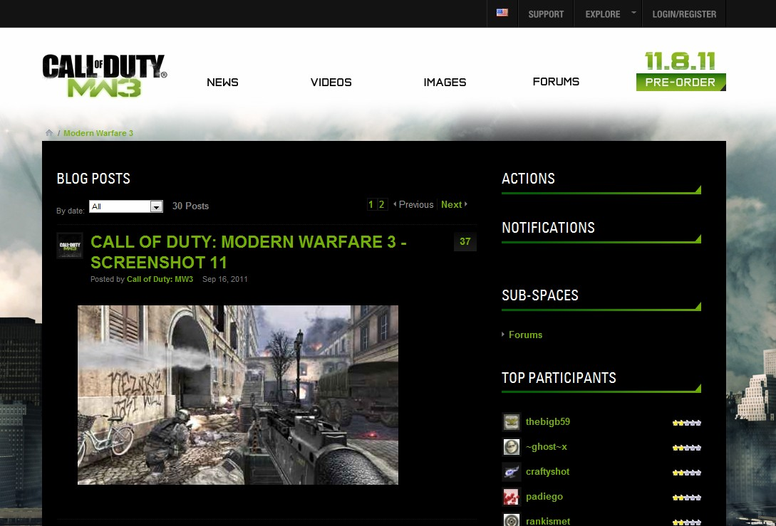 ModernWarfare3.com to re-direct to official MW3 web site, any day now