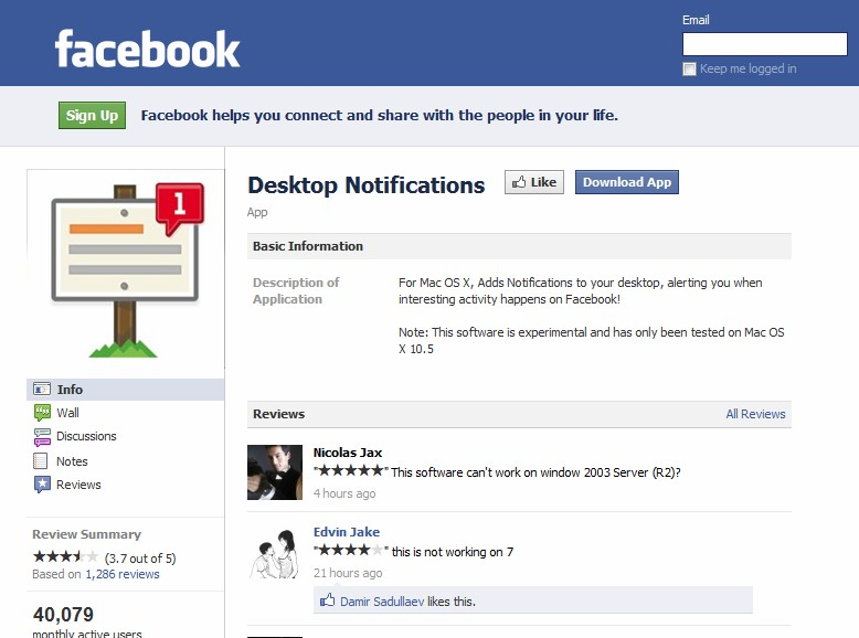 Facebook registers Notifier and SSL domains for new notification program?
