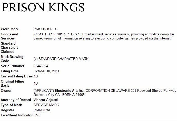 Electronic Arts files trademark applications for 'Prison Kings'