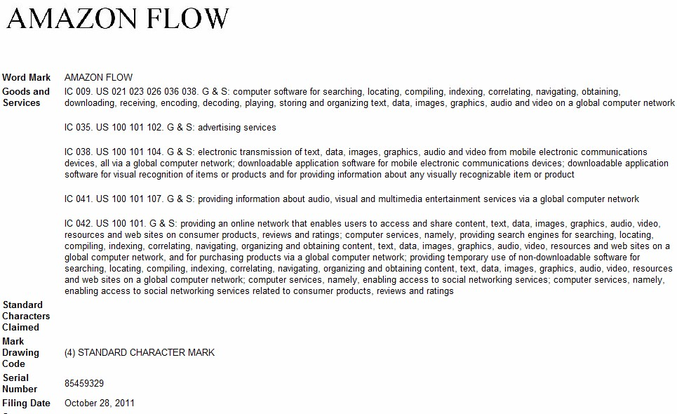 Amazon Flow trademark filing