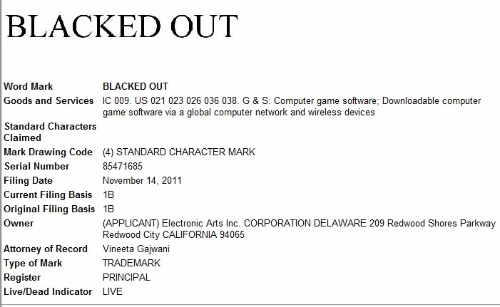 Electronic Arts files new trademark applications for 'Blacked Out' game