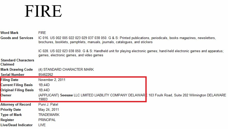 Seesaw 'Fire' trademark filing