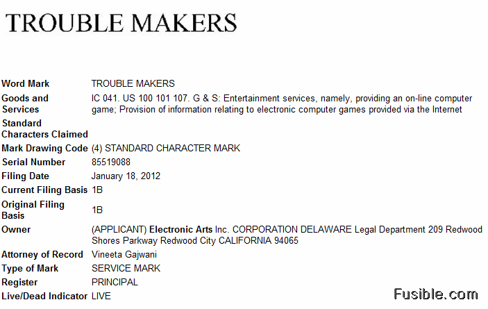 Electronic Arts files trademark applications for 'Trouble Makers' game