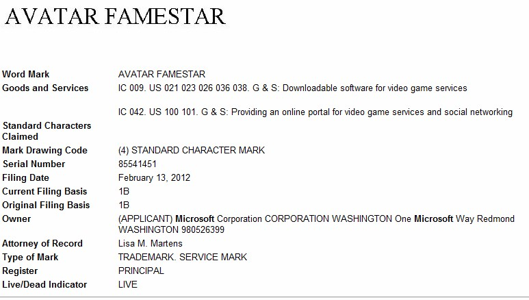 "Microsoft files trademark for ""Avatar Famestar"" for video game services"