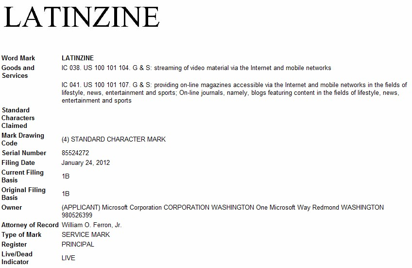 Microsoft to launch new publication? Company files trademark for Latinzine