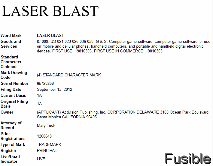 Activision files 'Laser Blast' trademark, Atari 2600 game first published in 1981