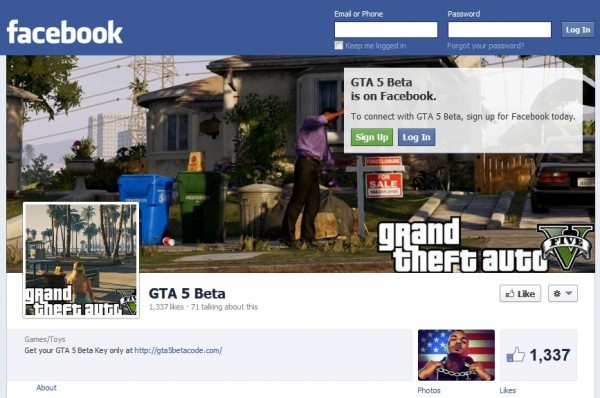GTA 5 Beta Facebook page